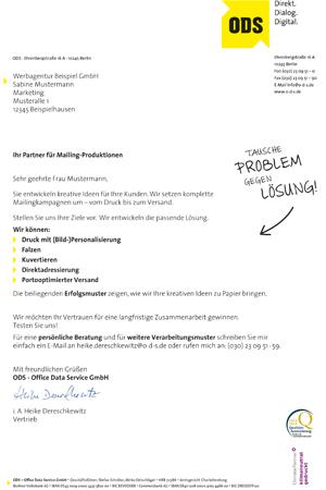 Text-Mailing-Anschreiben